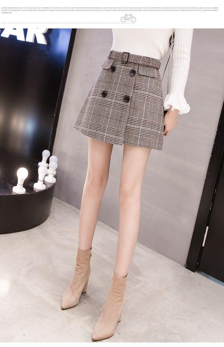 winter women skirt Wool Plaid Skirt fashion woman skirts 2018 High waist mini Short Skirt elegant womens clothing 1916 50