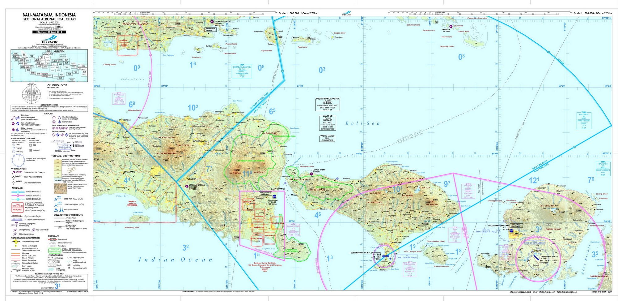 Sectional Aeronautical Chart Sac 1 500 000 West Java Bali Indonesia Produced And Published By Indoavis