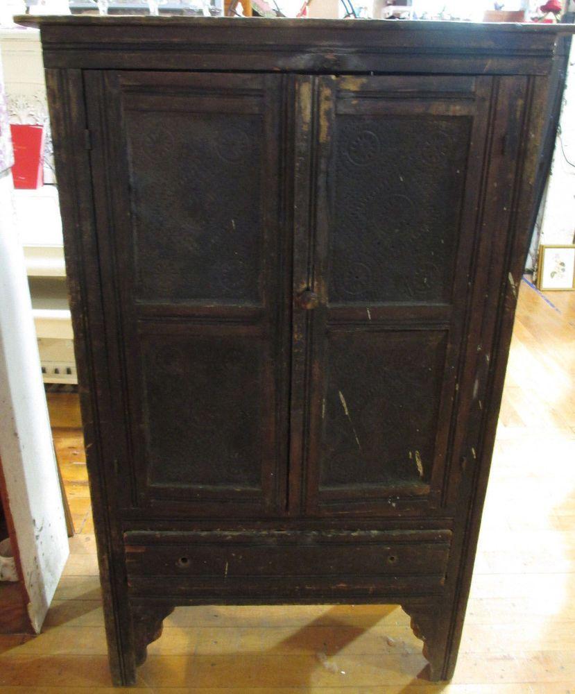 Details About Antique 1800s Primitive Cupboard Cabinet Pie Safe Punch Tin Farmhouse Kitchen Farmhouse Kitchen Decor Pie Safe Punched Tin