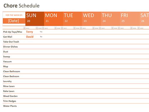 Chore Schedule  C L E A N  O R A N I Z E D    Chore