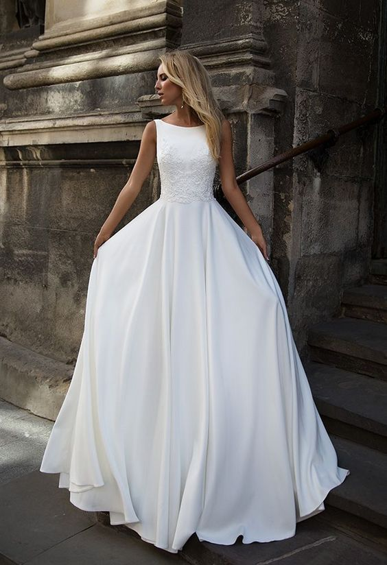 Simply Elegant White Bridal Dresses Wedding Dresses With Straps