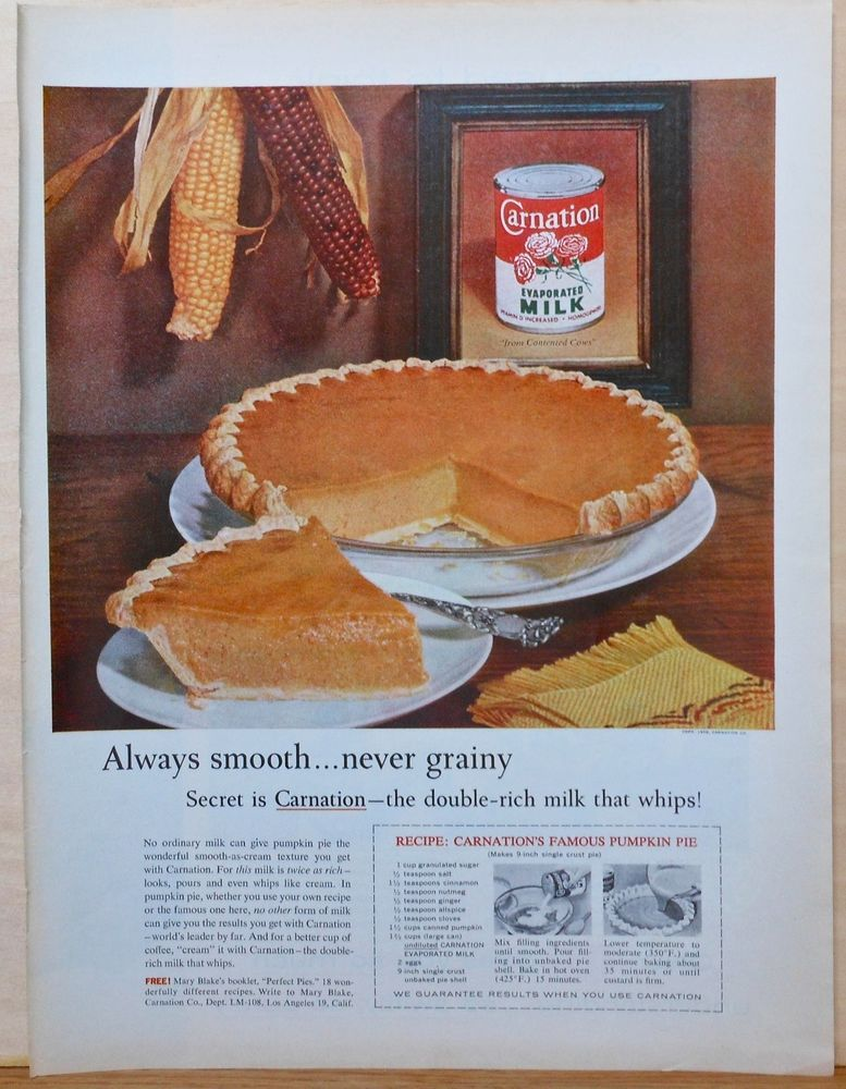 Vintage 1959 Magazine Ad For Carnation Evaporated Milk Pumpkin Pie Recipe Photo