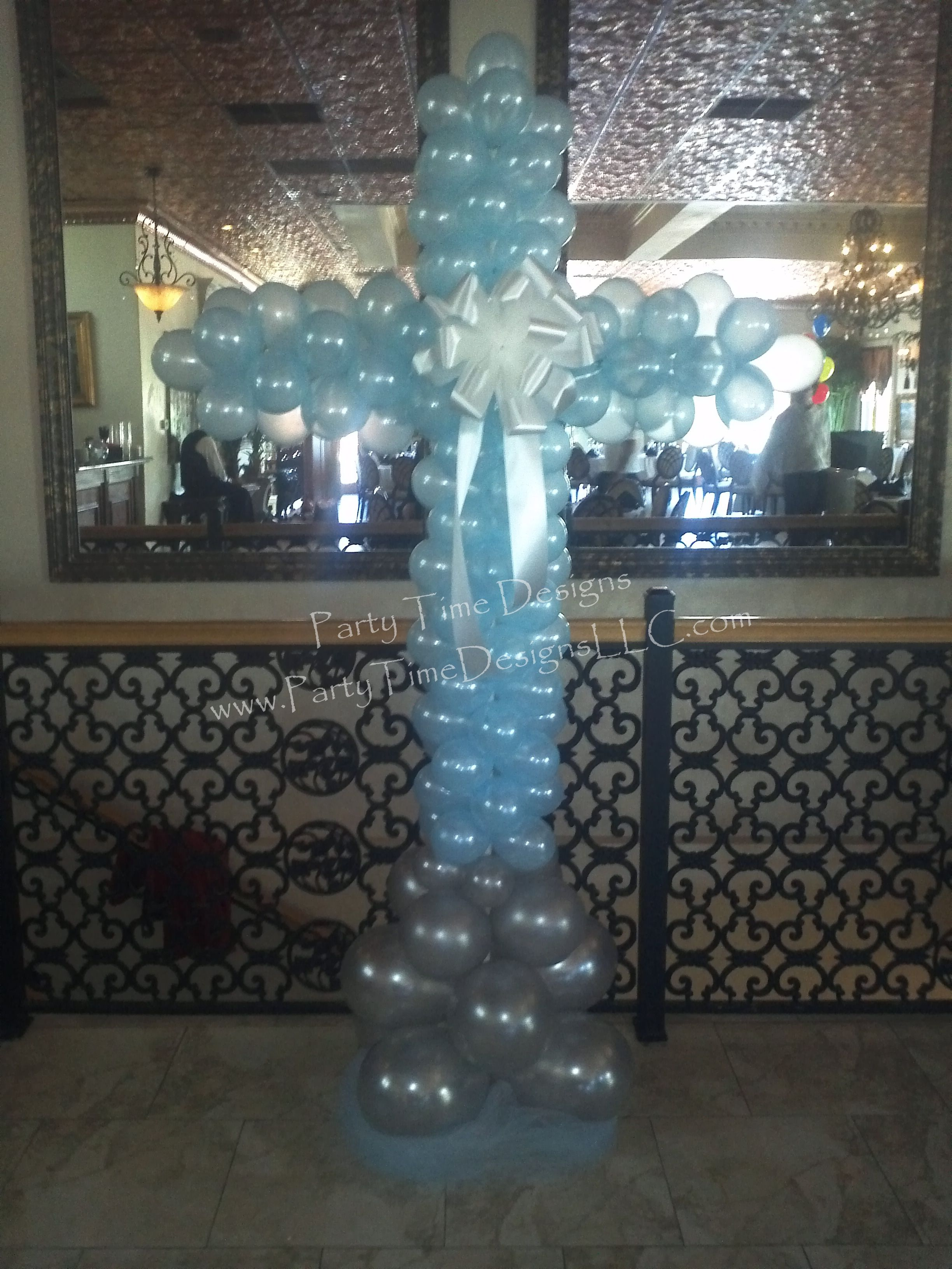 Balloon Cross baby shower decoration. Custom décor kits available at ...