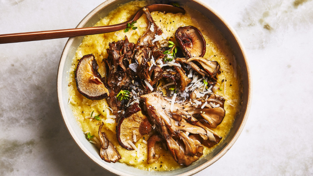 Oven Polenta with Roasted Mushrooms and Thyme Recipe