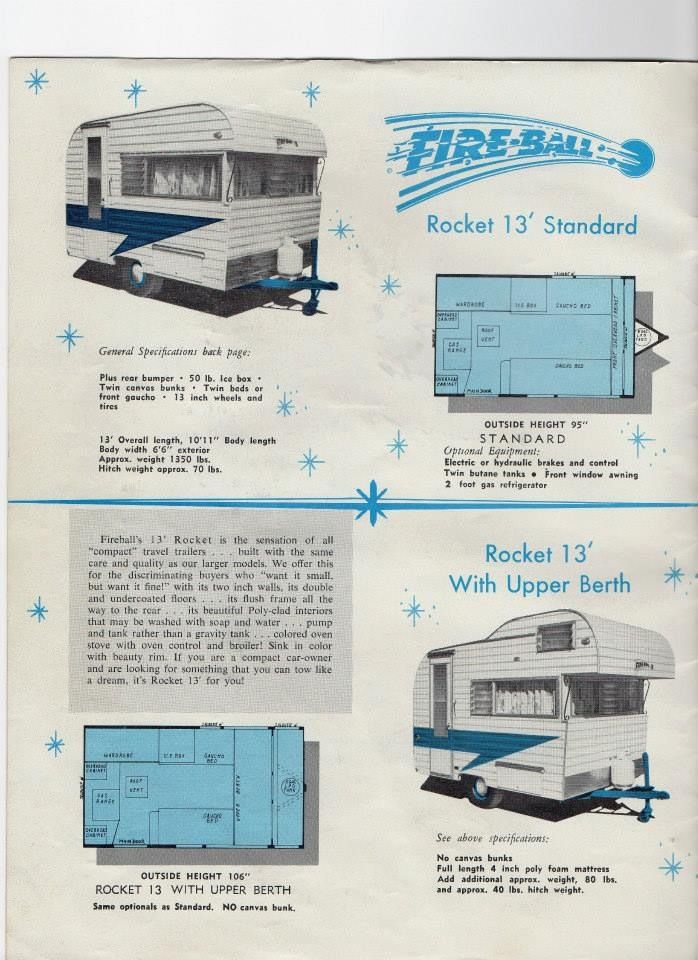 13 Fireball Travel Trailer Brochure Vintage Campers Trailers Travel Trailer Vintage Travel Trailers