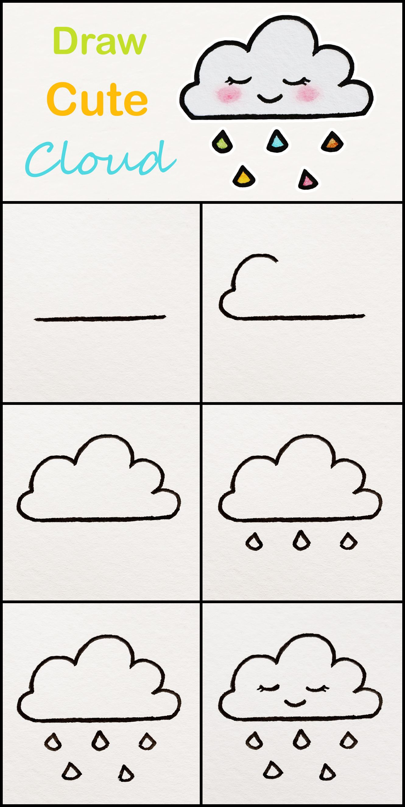 Learn How To Draw A Cute Cloud Step By Step Very Simple Tutorial Cloud Drawings Kawaii T Easy Drawings For Kids Easy Drawings For Beginners Easy Drawings