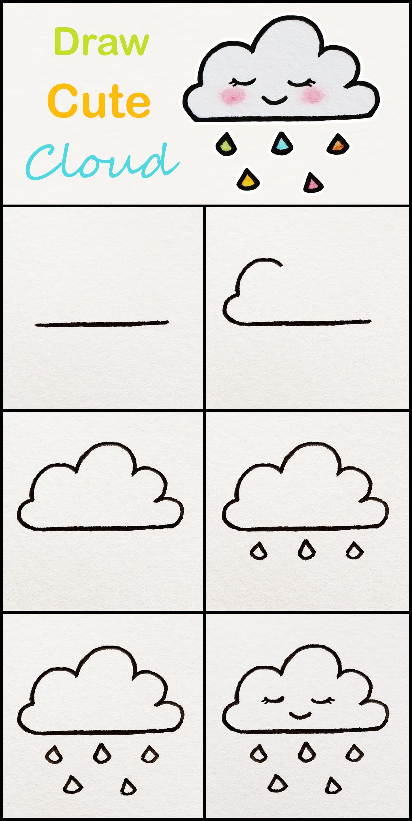 Cloud Drawing Easy : cloud, drawing, Learn, Cloud, Simple, Tutorial, #cloud, Drawings, #kawaii, #t…, Drawings,, Kids,, Beginners