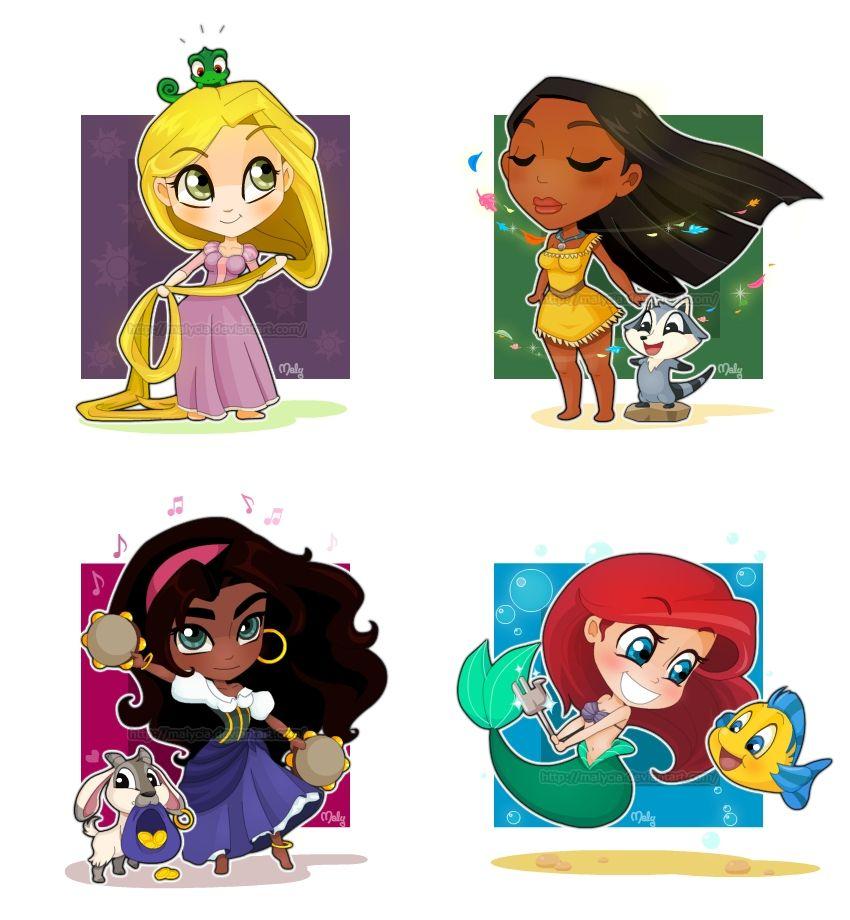 Repunzal, Pocahontas, Esmeralda, And Ariel Chibi