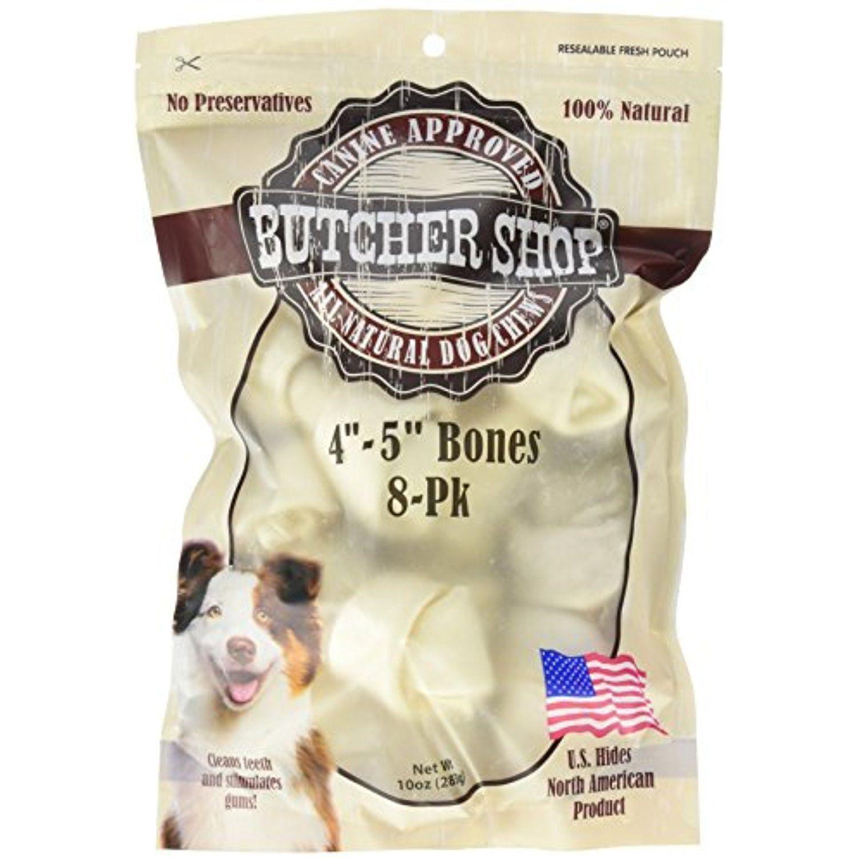 Butcher Shop 13144 4 5 Natural Rawhide Bones 8 Pack Small