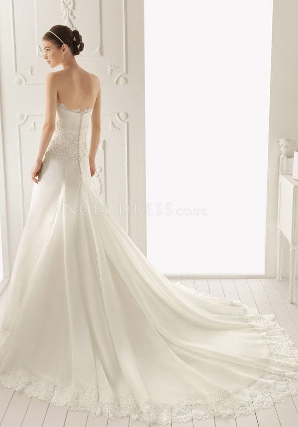 Decent A line Organza Floor Length Strapless Wedding Dress With Lace ...