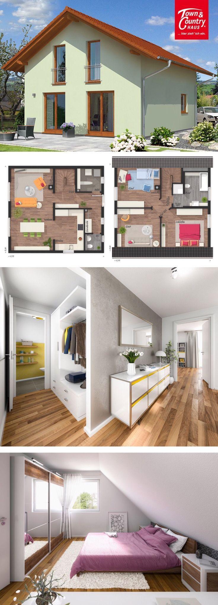 Einfamilienhaus Architektur mit Satteldach flach geneigt ...