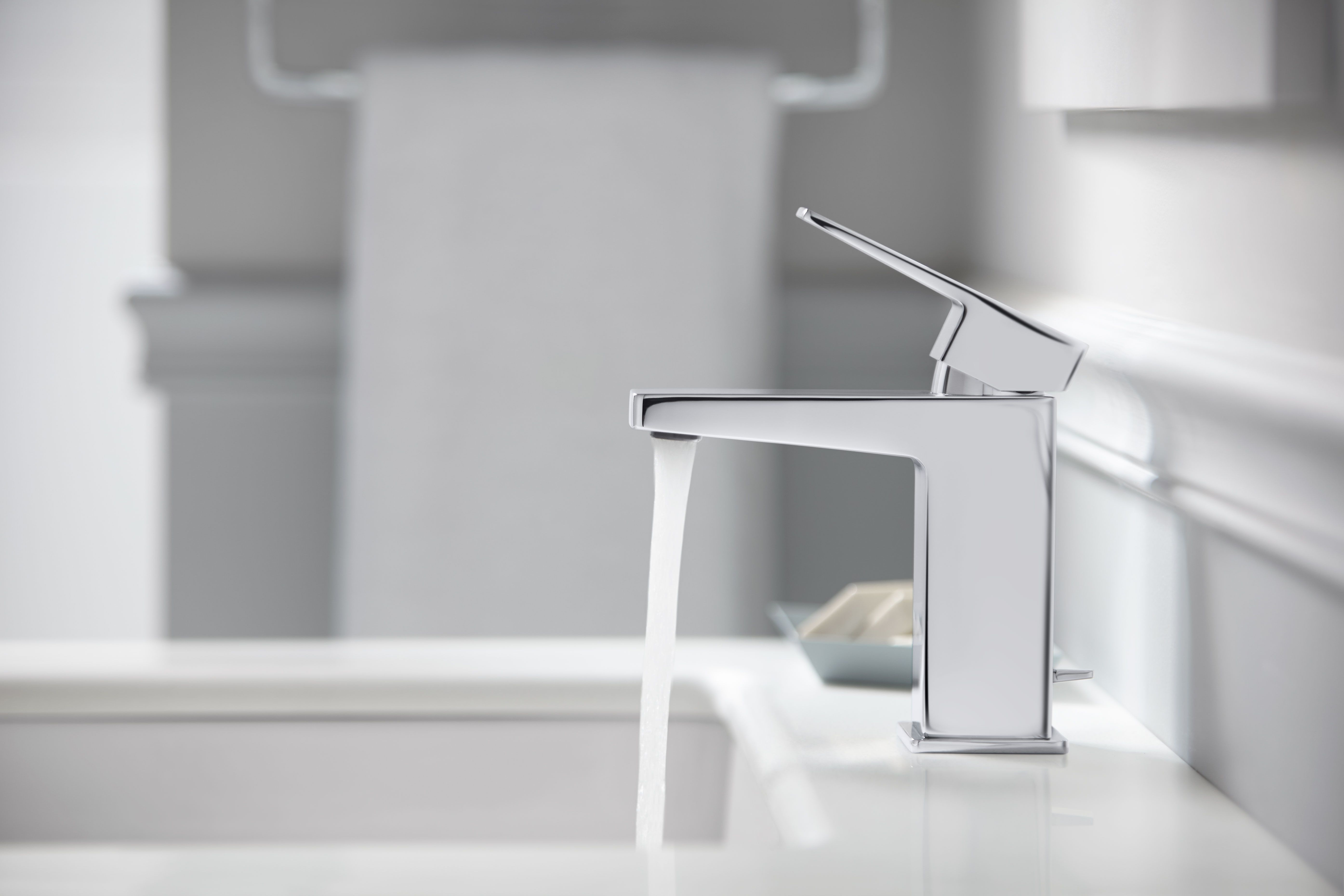 Sleek square feature make this Kohler Honesty Faucet a beautiful ...