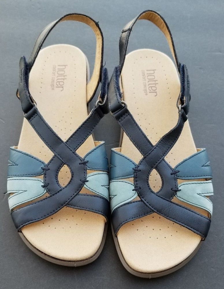 d5007b3526d Hotter Flare Leather Sandals Navy Blue Multi Size 9 EU 41  Hotter  Strappy