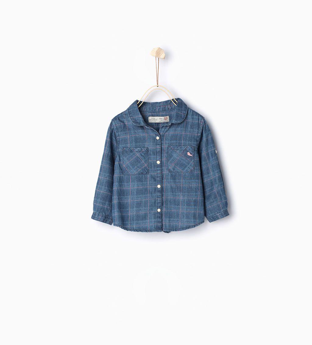 Image 1 de Chemise en jean à carreaux de Zara