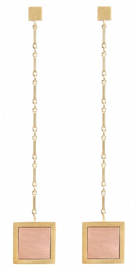 Keep classic in this contemporary and elegant drop earring. Featuring a matte brushed finished 14-karat yellow gold vermeil earring and chain, it is inlaid with rose gold in clean design.