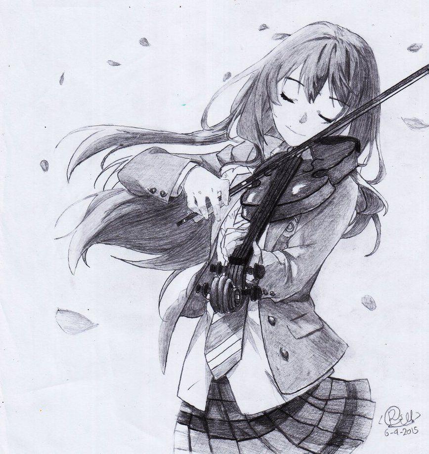 Shigatsu wa kimi no uso miyazono kaori pencil by gunz159