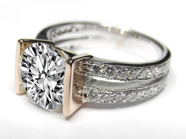 Split Band Bar Set Diamond Engagement Anniversary Ring Setting In 14k White Gold 0 36