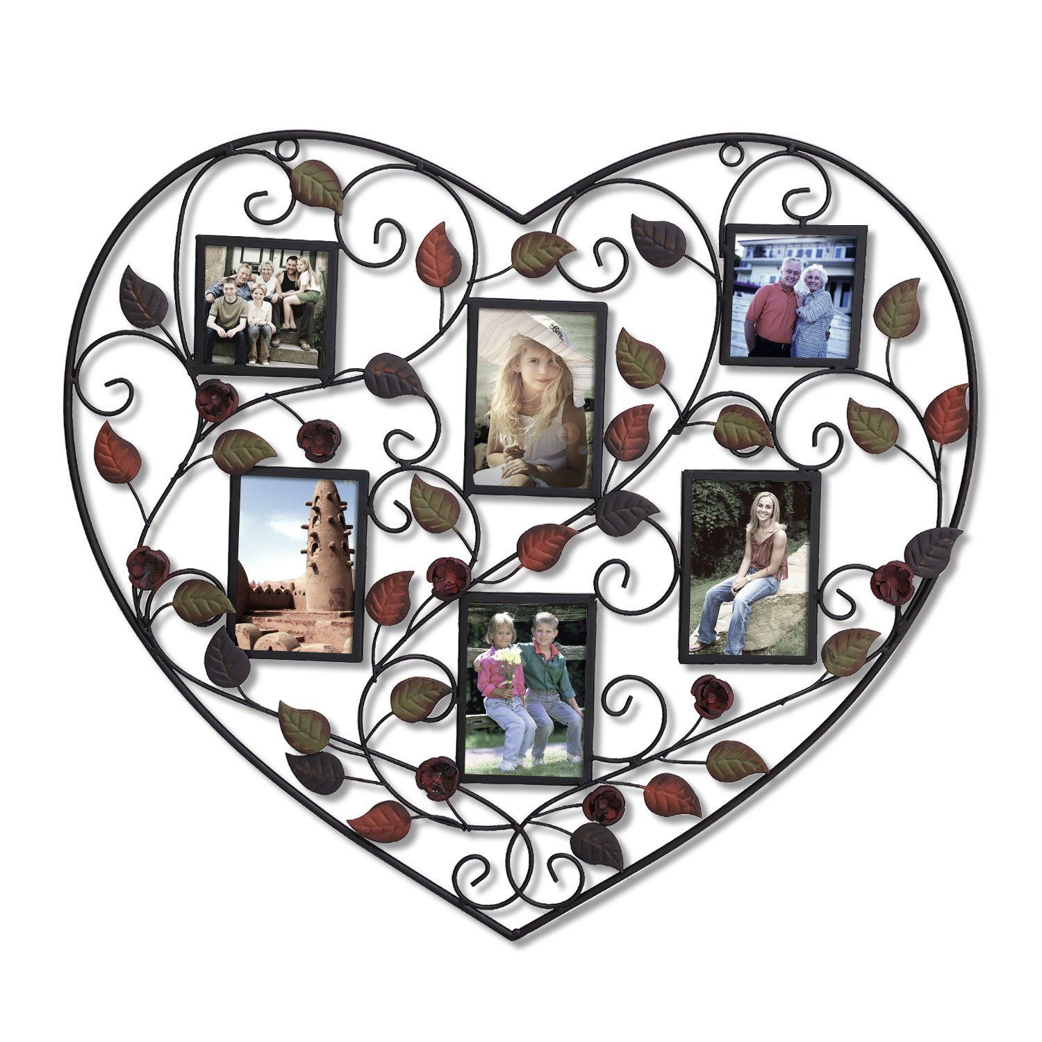 Adeco Heart Shape Decorative Picture Frame (6-Opening) [Pf0528] [PF0528]