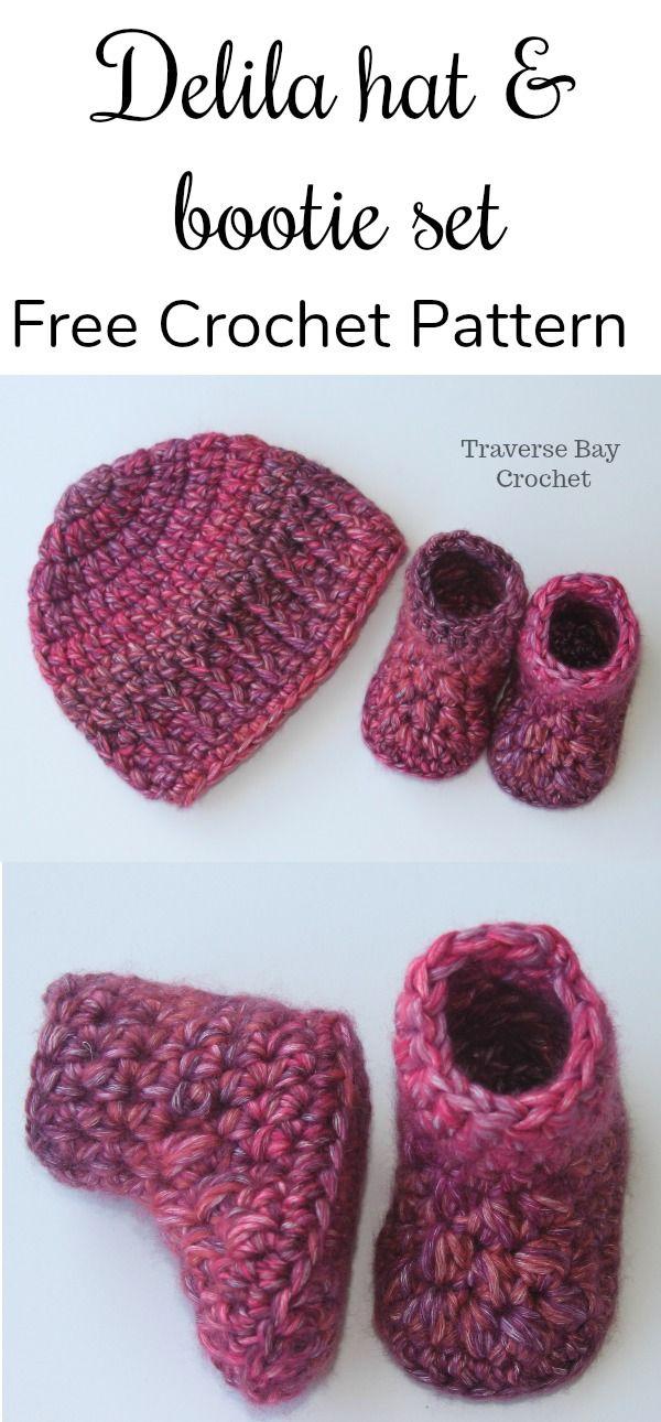 Quick easy Delila crochet baby booties - #crochetbabyboots