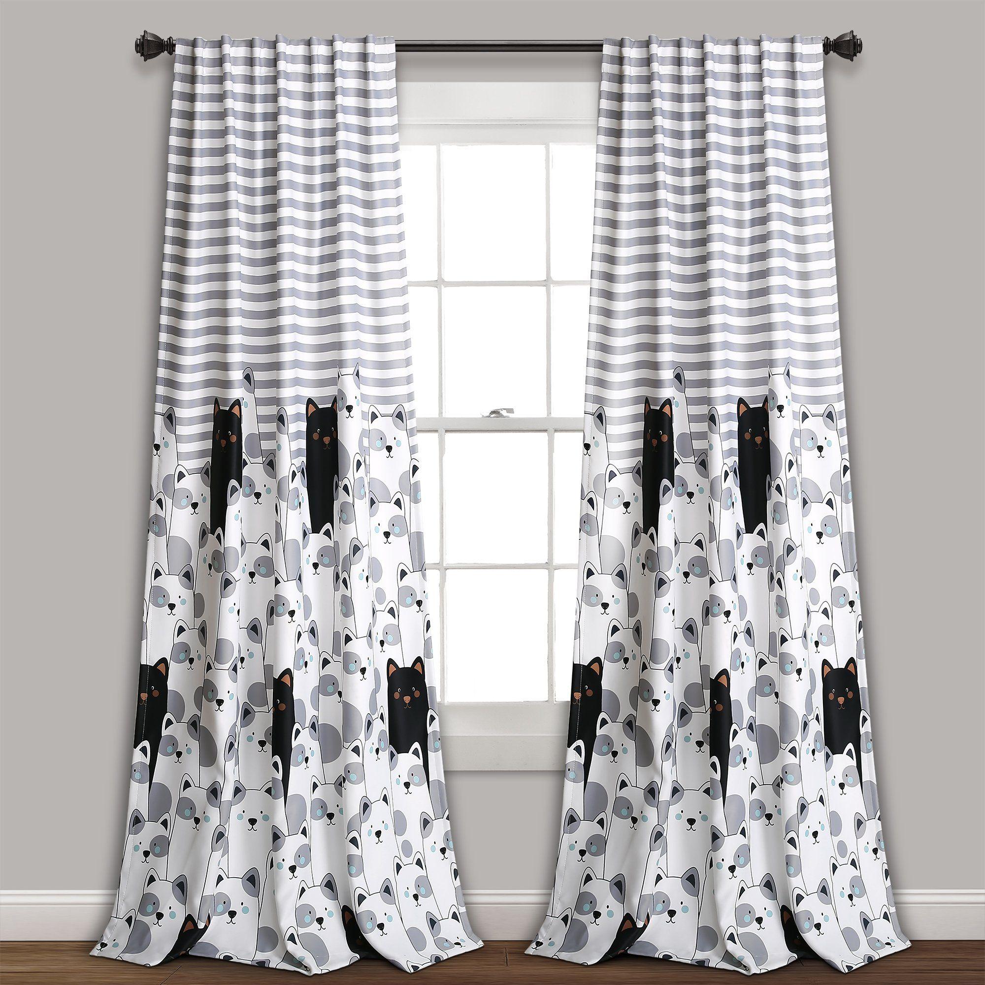 Stripe Bear Room Darkening Window Curtain Set Striped Room Panel Curtains Kids Curtains