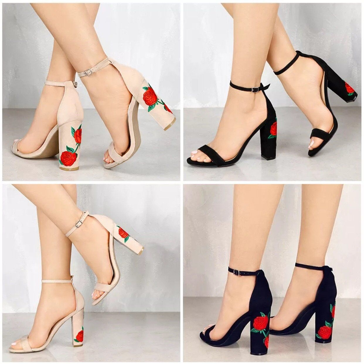fa095c32ddf0 WOMENS FLORAL BLOCK HEEL ANKLE STRAP SANDALS LADIES PEEP TOE STRAPPY PARTY  SHOES