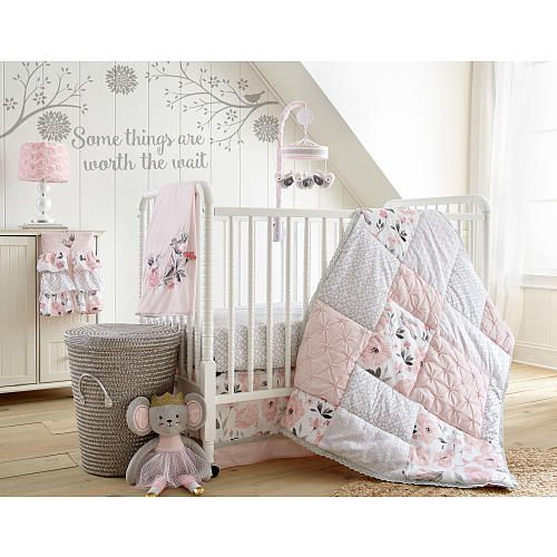 Levtex Baby Elise Grey and Pink Floral 5 Piece Crib