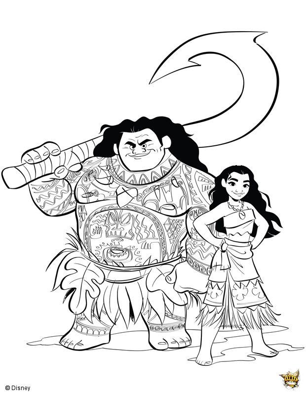 Maui et Vaiana coloriages sarah Pinterest Crayons