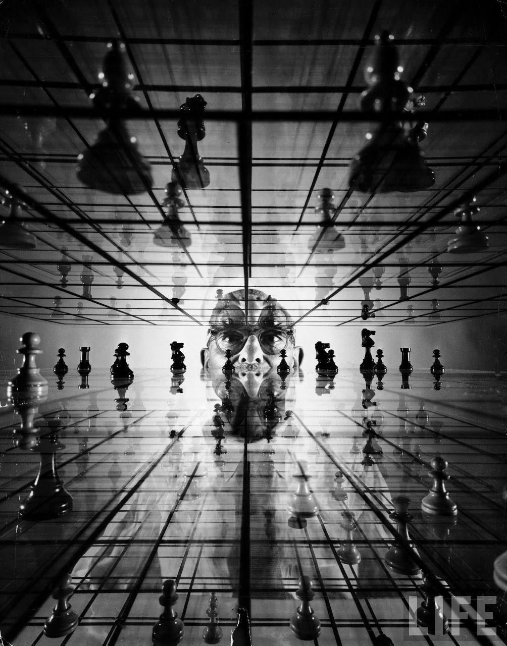 Ervand Kogbetliantz, who developed a three-dimensional form of chess, 1952.    By Yale Joel