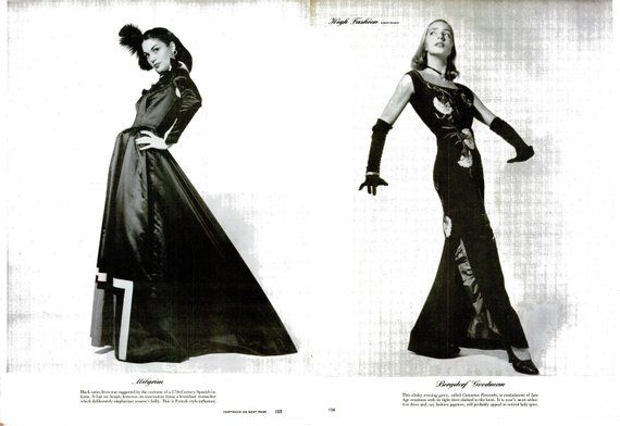1945 High Fashion Photography Black & White Print Set Life Magazine WWII Wartime Haute Couture Femme Fatale Glamour Designer Dressmaker Art #dressesfromthesouthernbelleera
