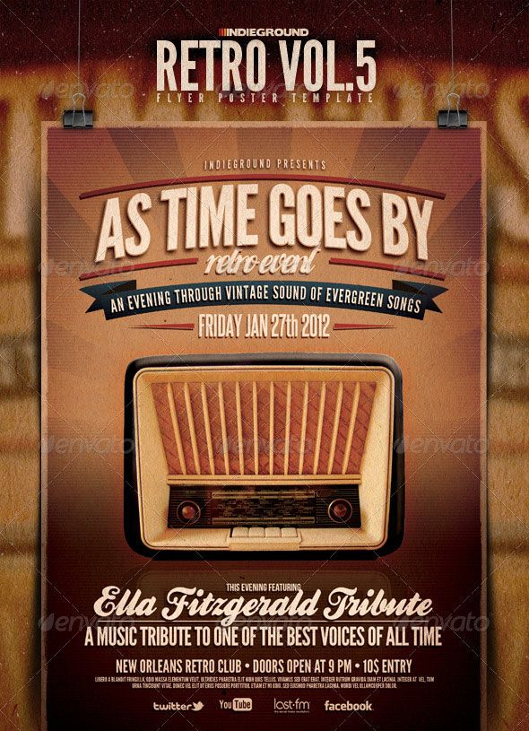 25 Retro & Vintage Psd Flyer Templates | Flyer Template, Retro