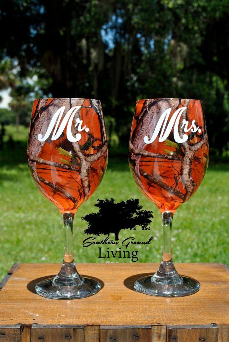 Mr And Mrs Orange Camo Wedding Wine Glass Set Rustic Wedding Southern Wedding Wedding Gift By So Camo Wedding Decorations Camouflage Wedding Camo Wedding