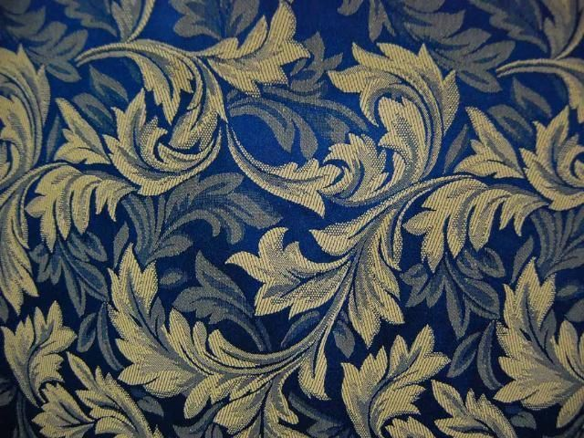 Royal Blue Woven Leaf Drapery Upholstery Fabric Fabrics For