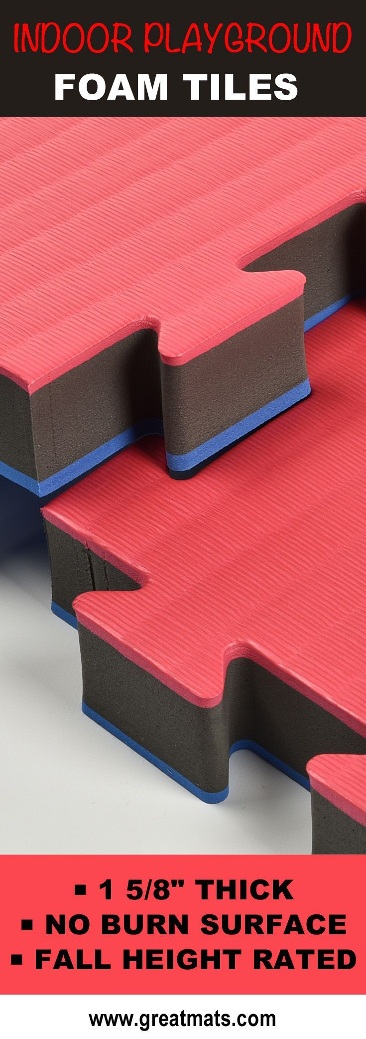 Greatmats Indoor Playground Foam Tiles provide fall protection as wells as a comfortable play surface that won't leave rug/skin/floor burns. Check them out!