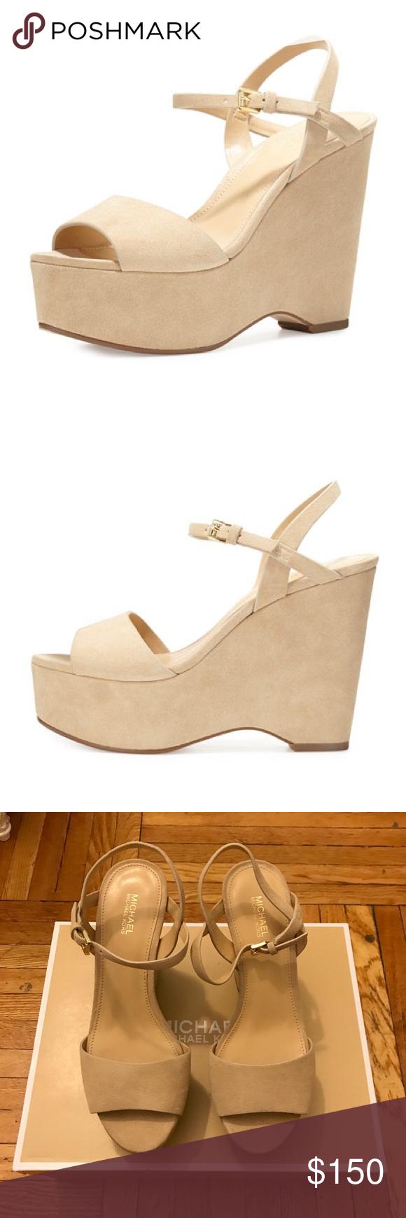 aedc2aa1b47 Michael Kors Leonora Suede Wedge Nude Bone wedge sandal brand new never  worn. Comes