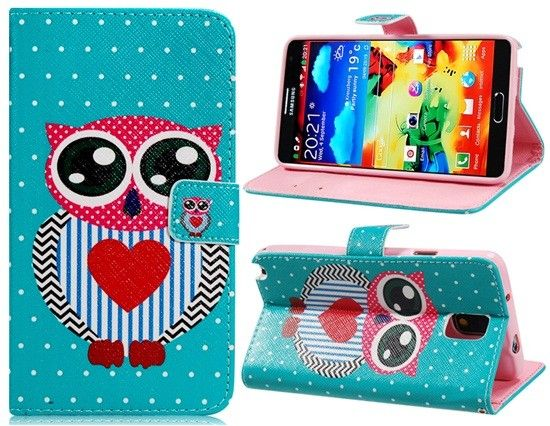 Samsung Galaxy Note 3 Owl Printed PU Leather Protective Case with Stand & Card Slots