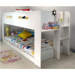 Alpha Single Midi Bunk Bed White Kids Clothes Toys Furniture
