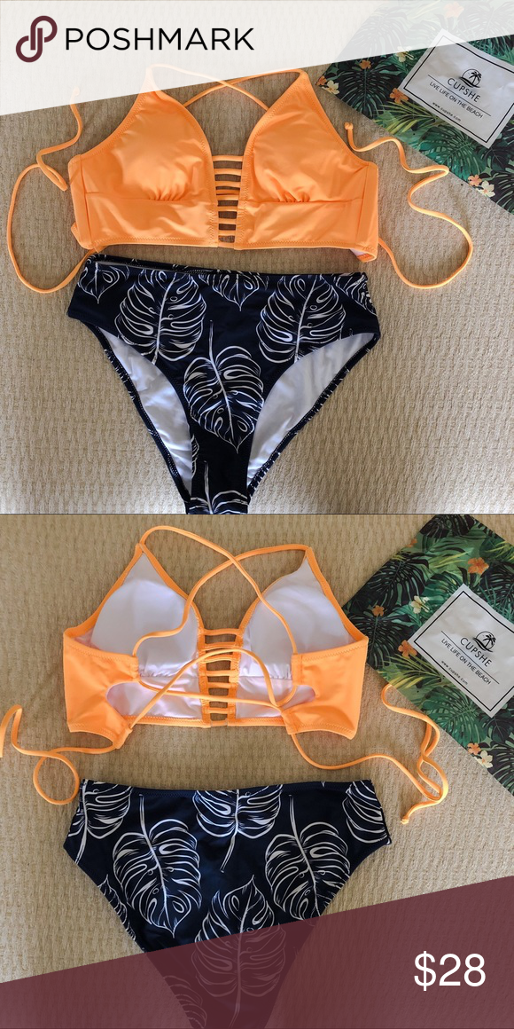 ad0feb1274e61 Yellow and Leaves Print Bikini Brand new, tags and hygiene strip still on.  Great