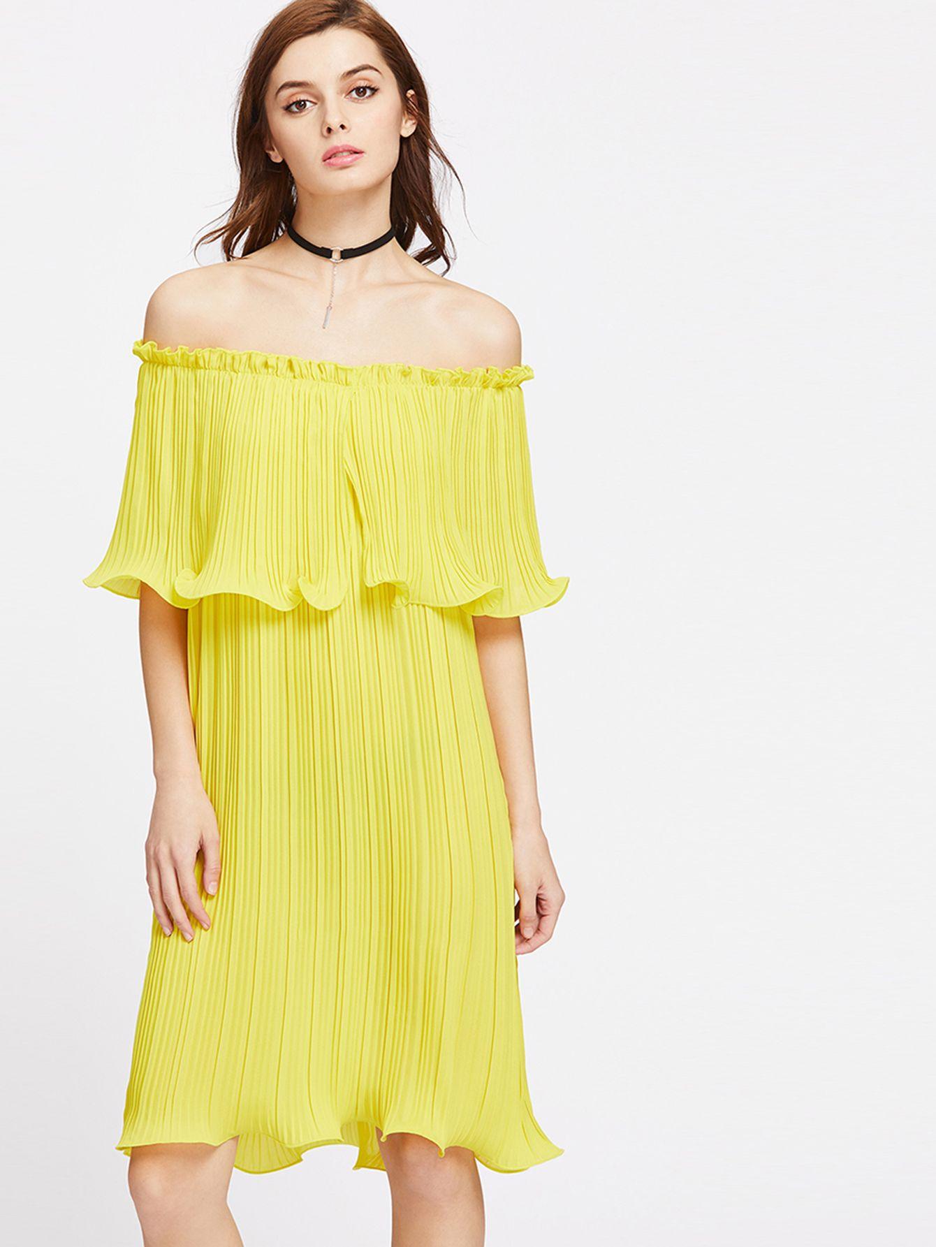1baeee26977 Shop Lettuce Hem Pleated Layered Off Shoulder Dress online. SheIn ...