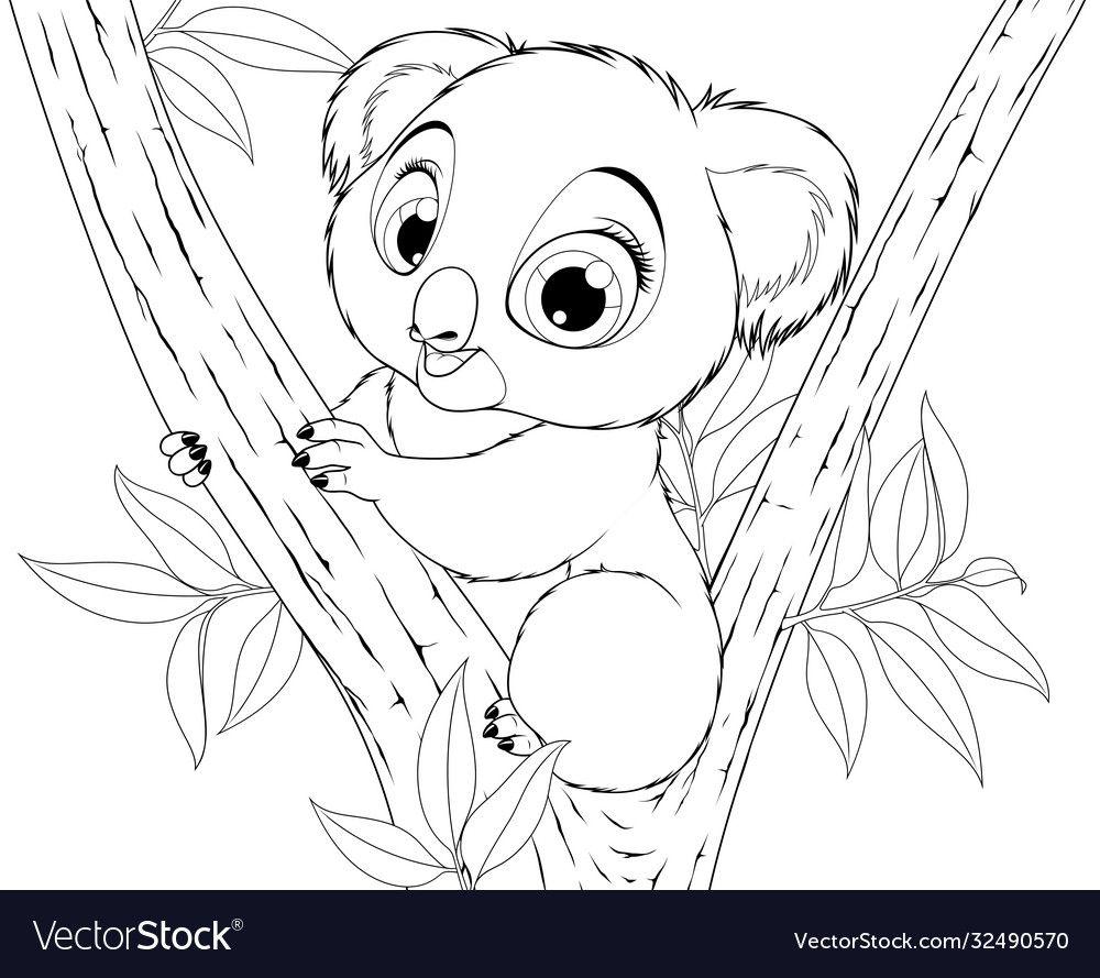 Vector Illustration Funny Little Koala Bear Baby Smiling On A White Background Coloring Book Download A In 2021 Koala Illustration Koala Coloring Pages Koala Vector