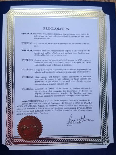 Asheboro, NC - Mayoral proclamation recognizing Diaper Need Awareness Week (Sept. 28 - Oct. 4, 2015) #DiaperNeed www.diaperneed.org