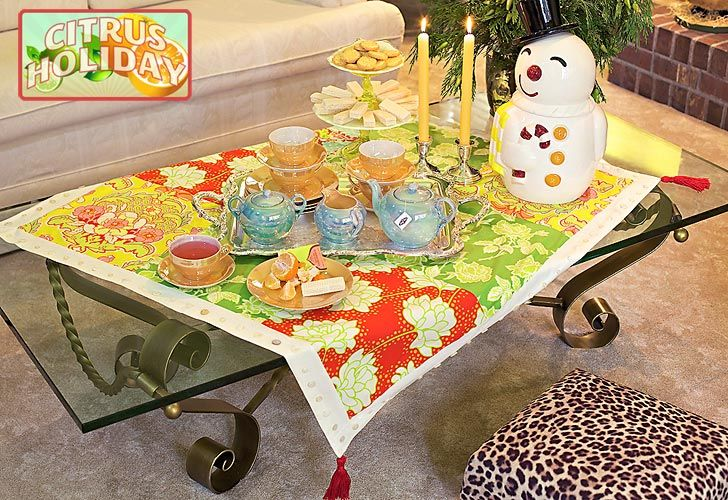 Citrus holiday patchwork table topper with vintage button