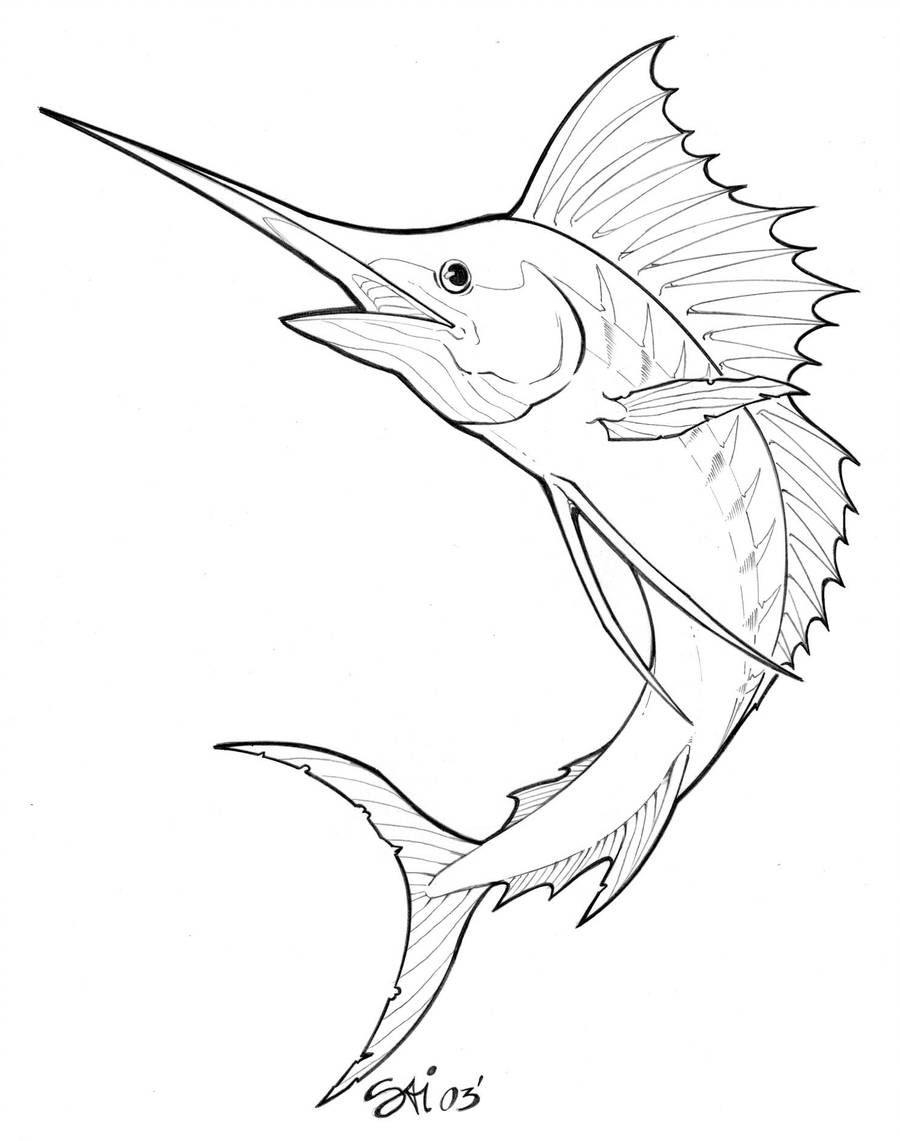 Tattoo Design Marlin By Artbysai On Deviantart Fish Drawings Blue Marlin Fish Fish Illustration