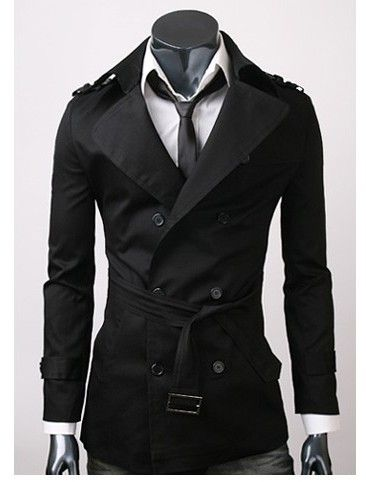 MENS CASUAL DOUBLE BREASTED TRENCH COAT