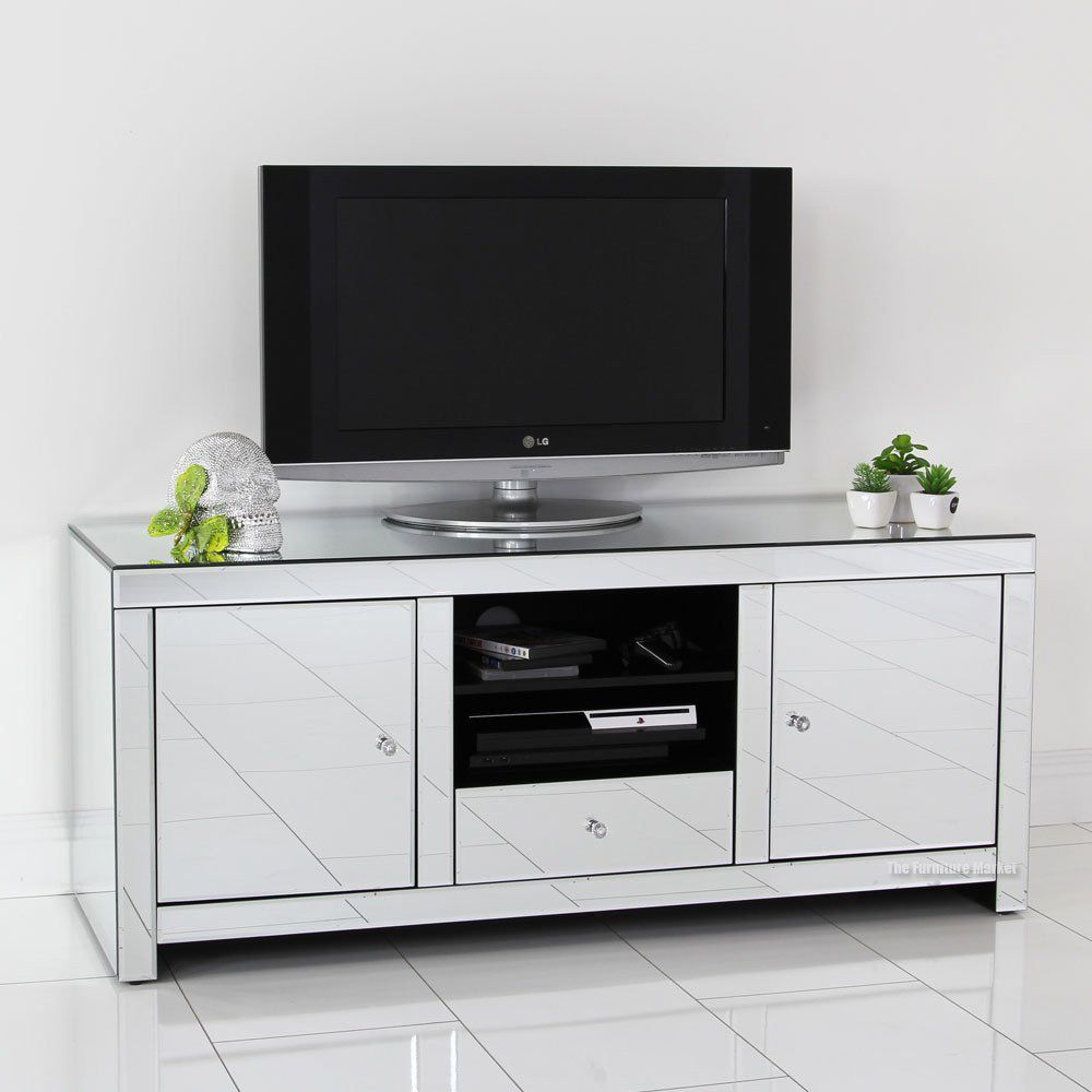 Mirrored Tv Stand Glass Cabinet Contemporary Decor Vintage Unit