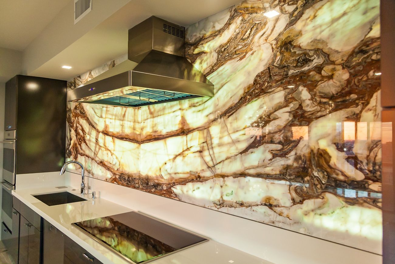 - Calacatta Onyx Backlit Kitchen Backsplash / Feature Wall The