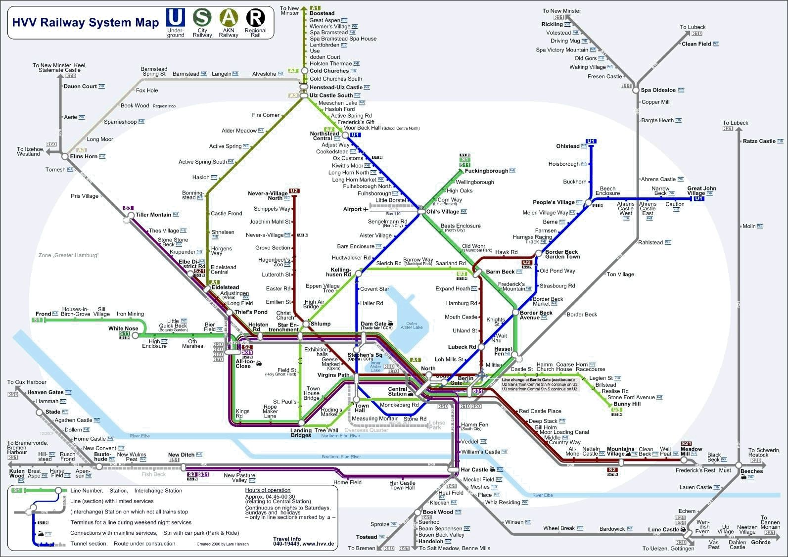 A Real Classic Hvv Subway Map Literally Translated