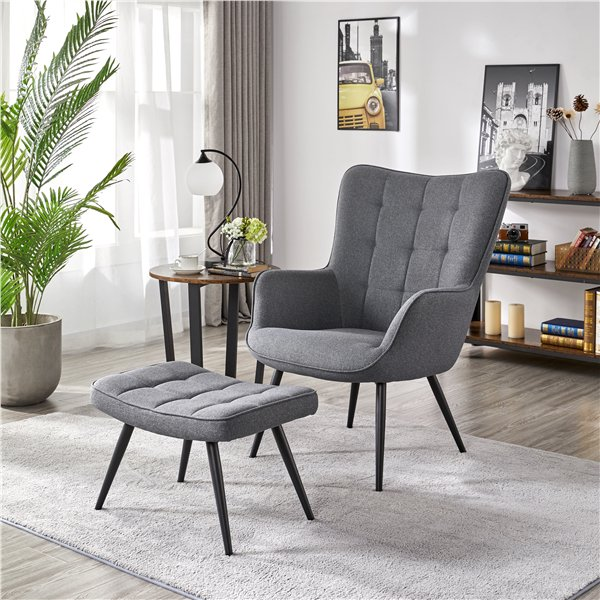Smilemart Modern Accent Chair And Ottoman Set Contemporary Upholstered Lounge Chair Biscuit Tufting For Bedroom Living Room Home Office Gray Fabric Walmart C In 2020 Chair And Ottoman Set Ottoman In