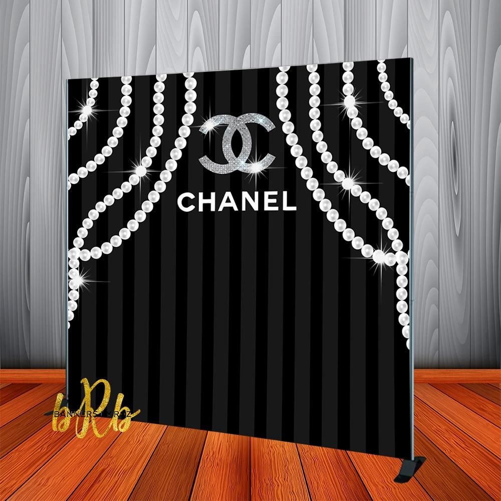 Chanel Pearls Backdrop Step Repeat Designed Printed Shipped In 2020 Chanel Birthday Party Decoration Chanel Birthday Party Chanel Party