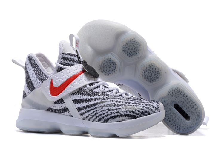 "0037892e03477a Nike LeBron 14 ""Zebra Stripes"" White Black-University Red Free Shipping"
