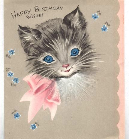 Pretty Kitty Pink Bow Vintage Birthday Cards Vintage Greeting Cards Vintage Birthday